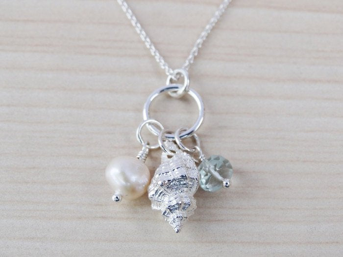 Little Silver Shell Necklace With Aquamarine & Pearl - Sterling Silver