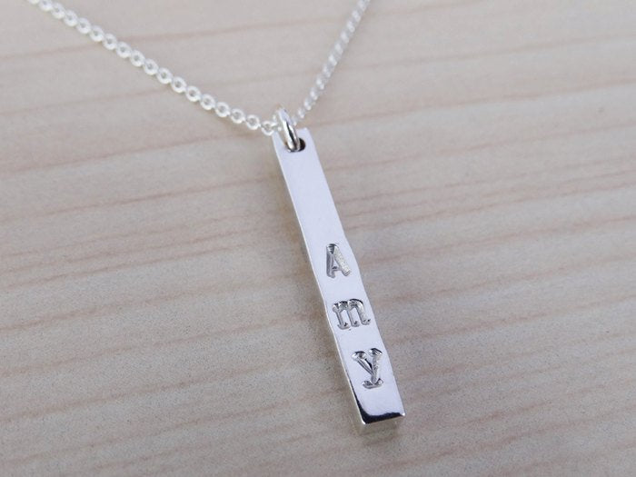 Silver Name Necklace - One Silver Stick - Sterling Silver