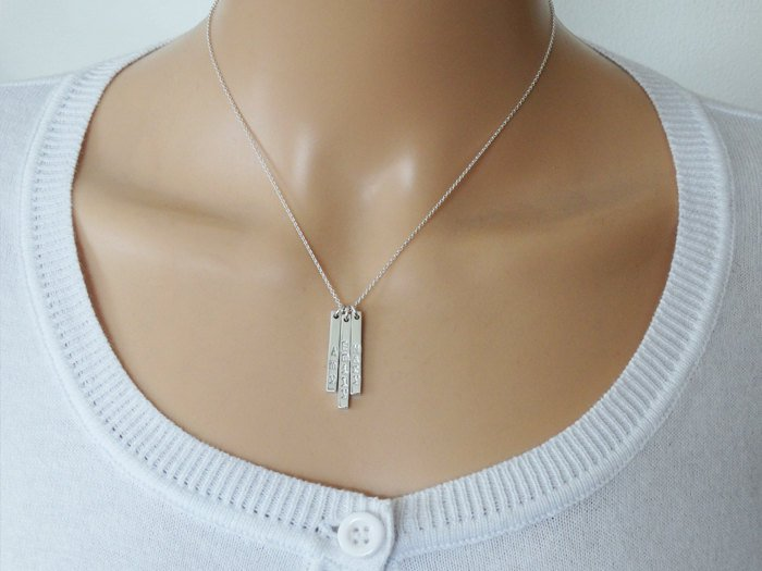 Silver Name Necklace - Two Silver Sticks - Sterling Silver