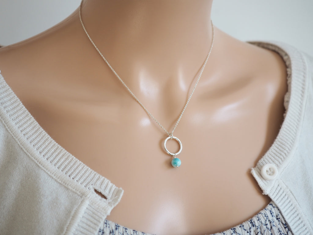 Larimar & Silver Circle Necklace | Sterling Silver