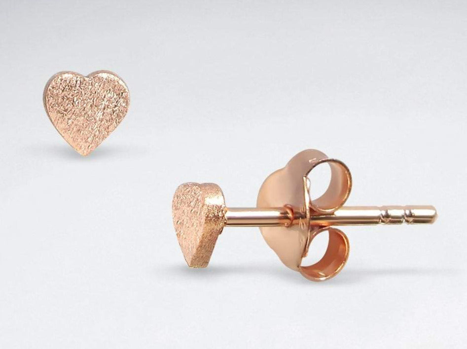 Tiny Sterling Silver Heart Studs | Rose Gold