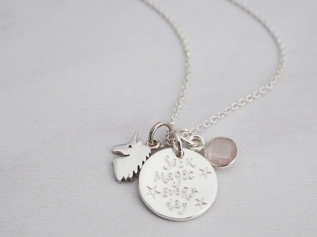 Tiny Silver Unicorn Necklace | Sterling Silver | Rose Quartz