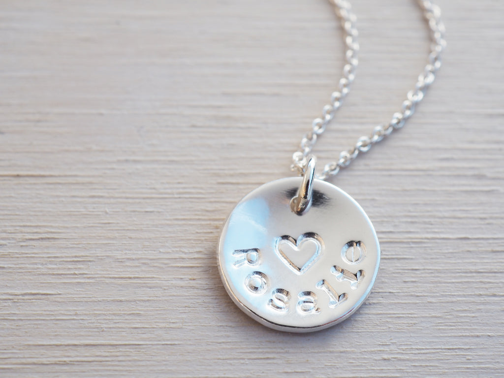 Silver Name & Heart Necklace | Personalised | Sterling Silver