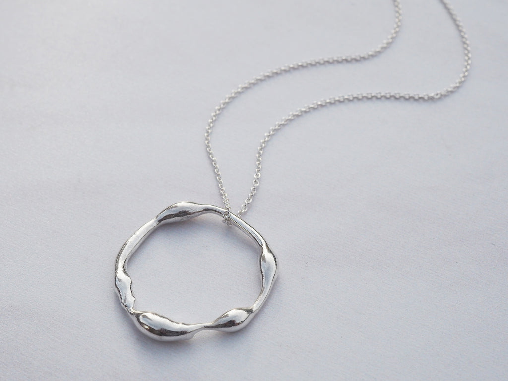 Organic Silver Circle Necklace