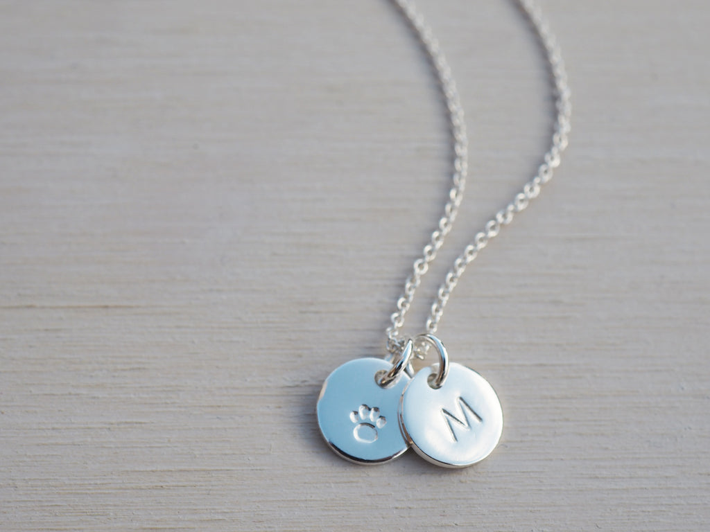 Tiny Silver Paw Print Necklace | Sterling Silver | Personalised