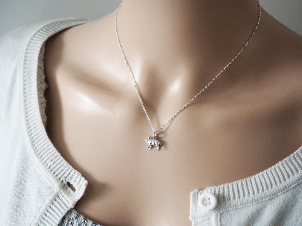 Tiny Silver Pig Necklace | Sterling Silver