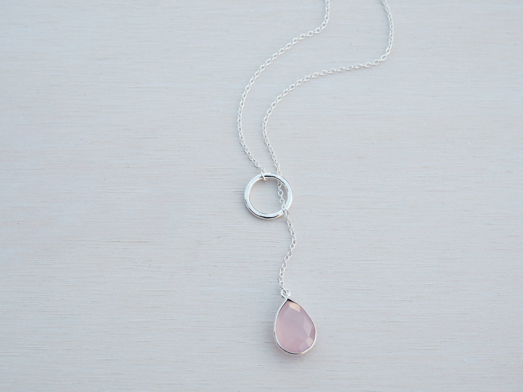 Gemstone Lariat Necklace | Pink Chalcedony | Sterling Silver