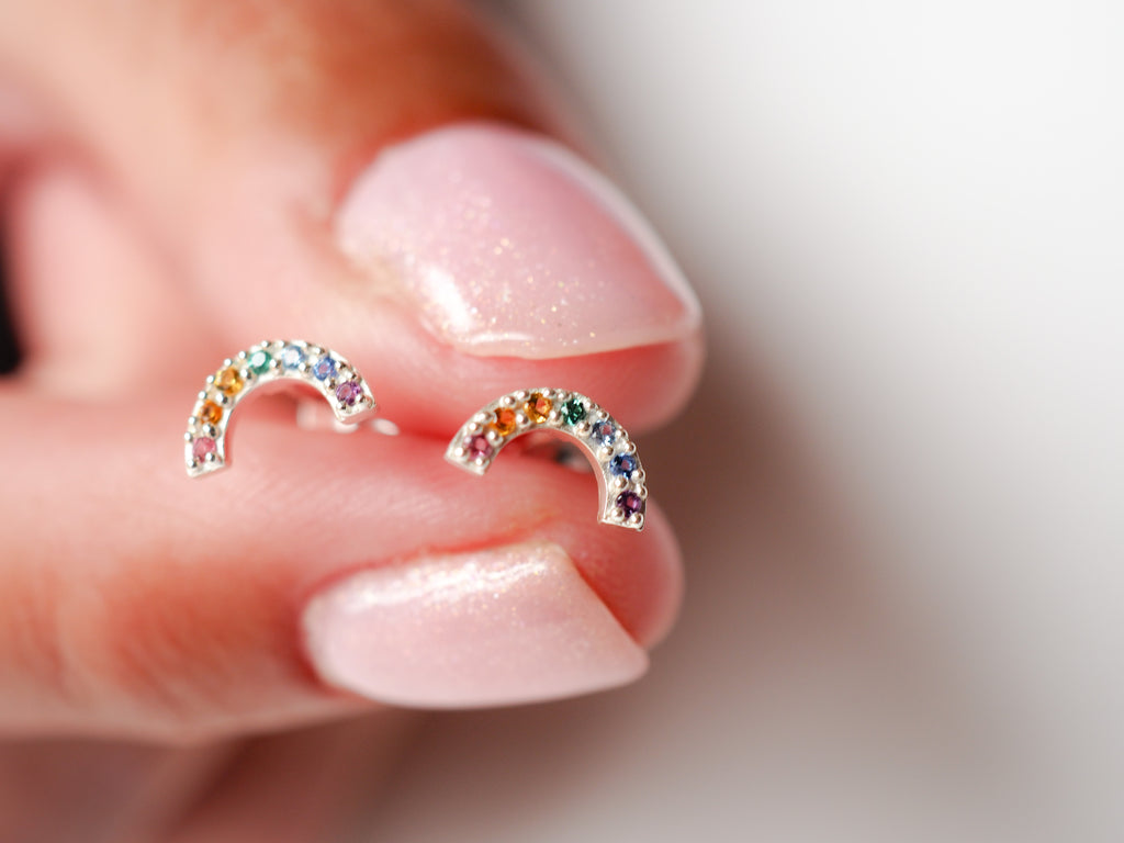 Tiny Rainbow Studs | Stering Silver