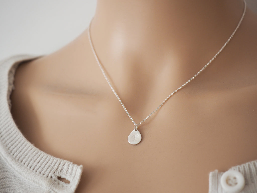 Tiny Silver Rainbow Raindrop Necklace | Sterling Silver