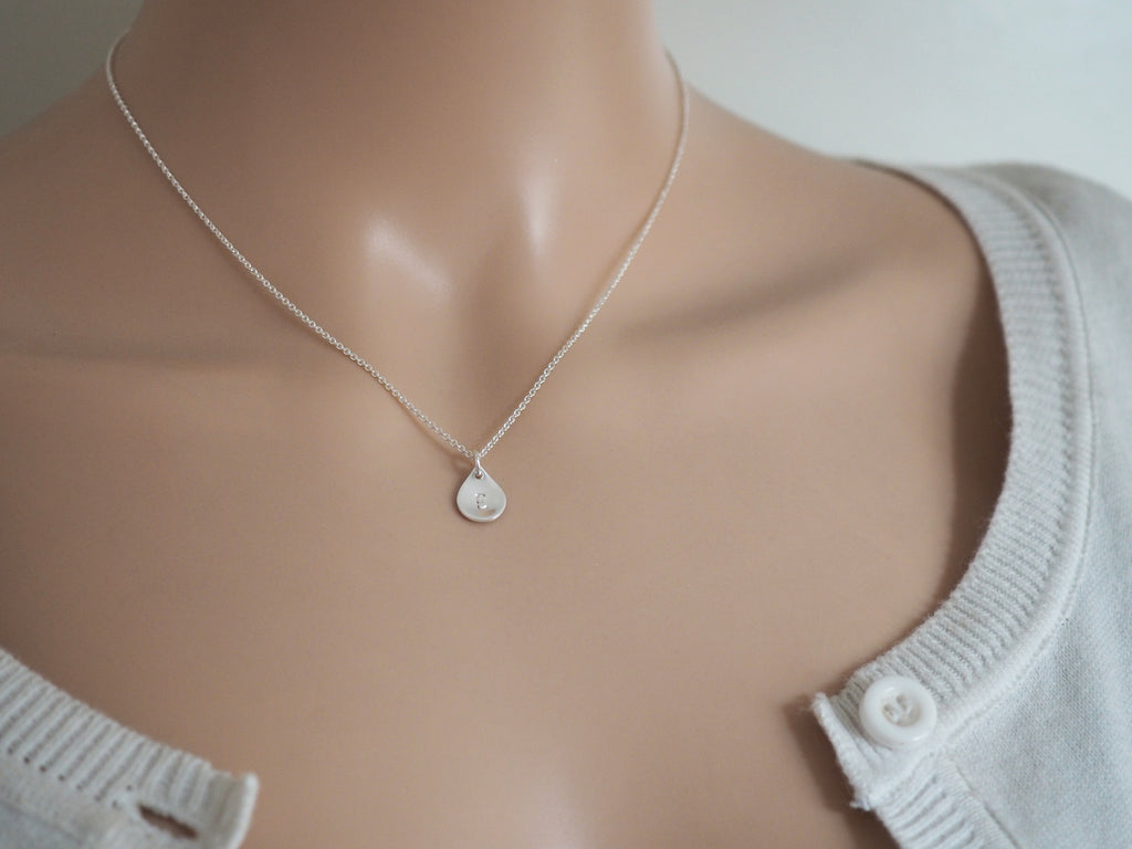 Tiny Silver Raindrop Necklace With Initial | Sterling Silver | Personalised