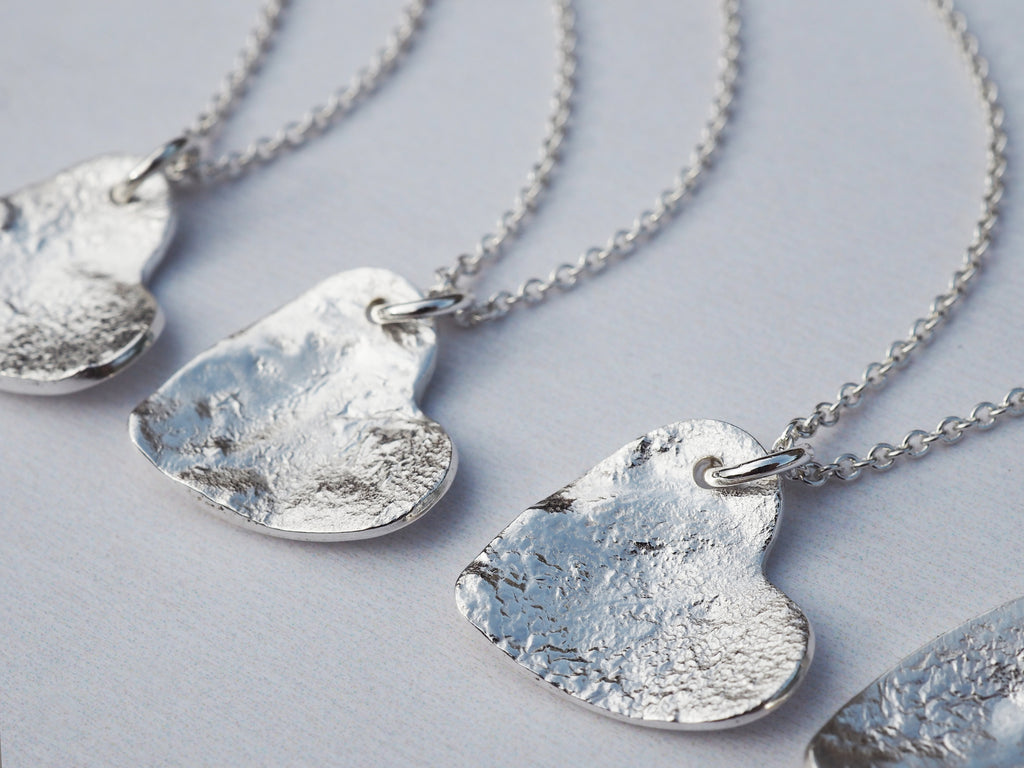 Silver Heart Necklace | Reticulated Sterling Silver