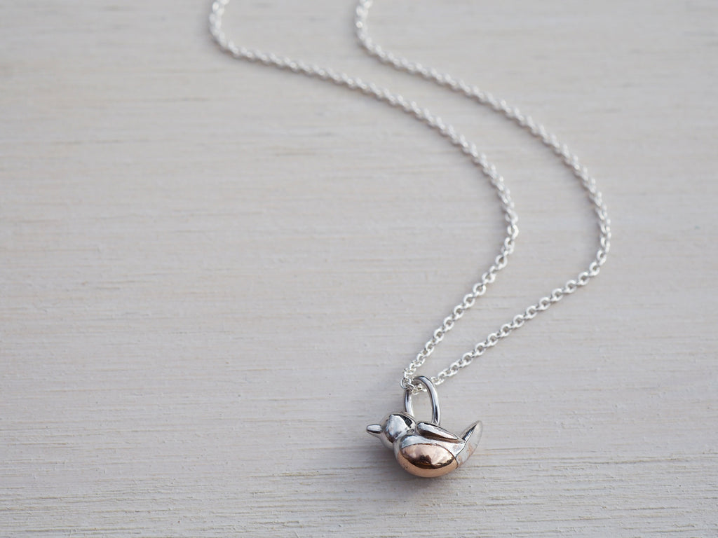 Tiny Silver Robin Necklace - Sterling Silver & Rose Gold