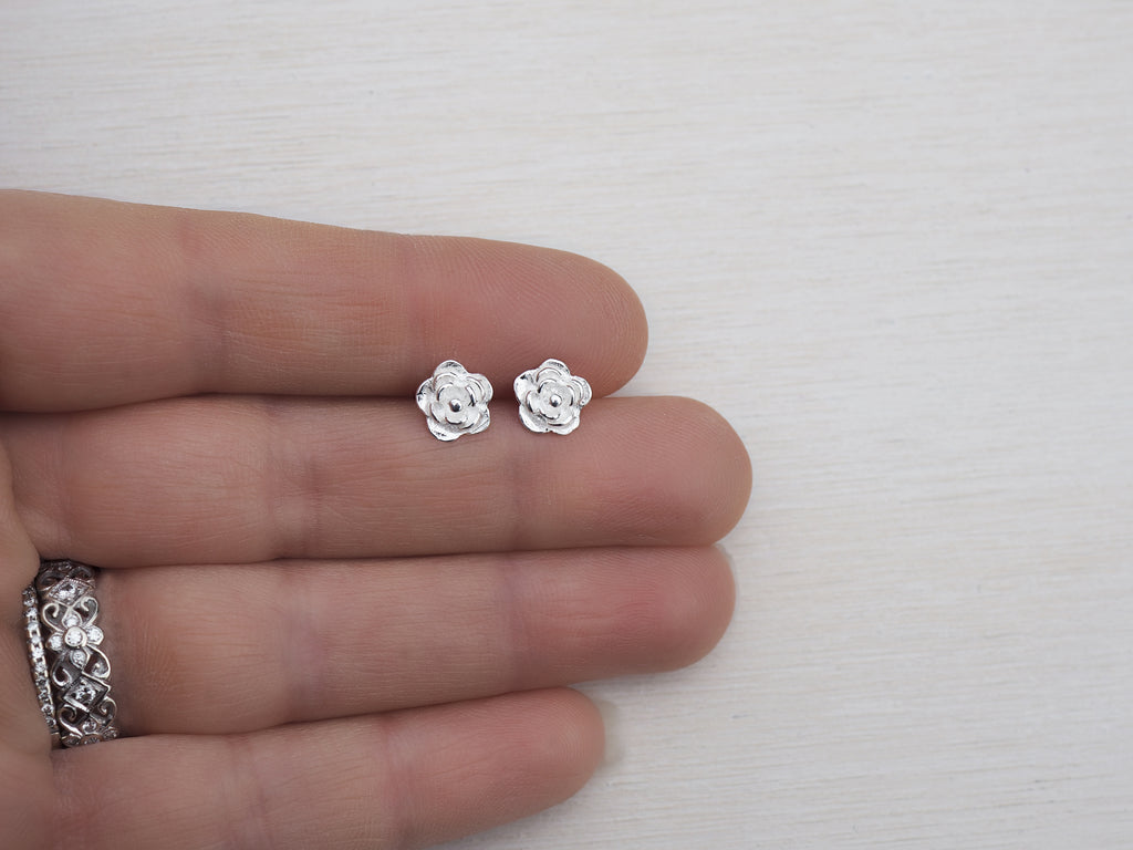 Silver Rose Studs | Flower Earrings | Sterling Silver