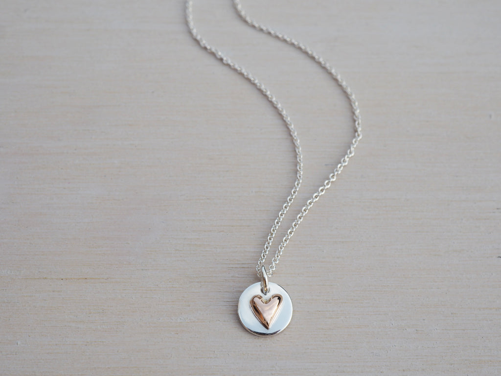 Tiny 9ct Rose Gold Heart & Silver Circle Necklace | Sterling Silver