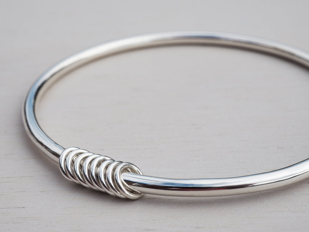Solid Silver Bangle & Silver Rings, Sterling Silver