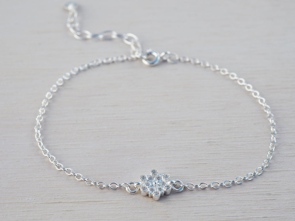 Tiny Silver Snowflake Bracelet | Sterling Silver | Cubic Zirconia