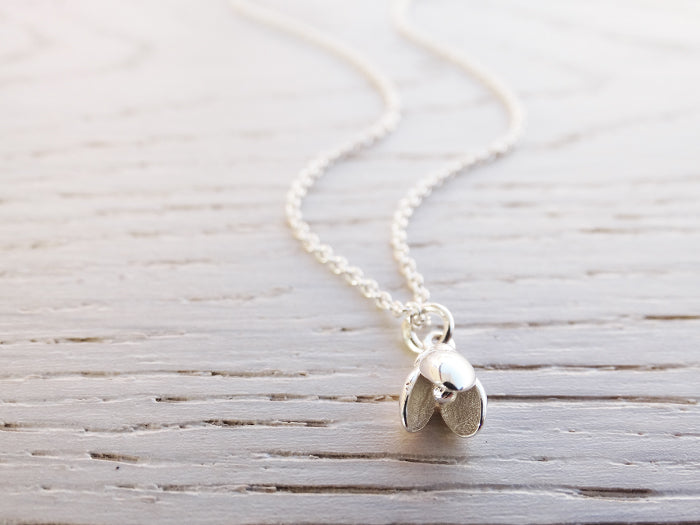 Tiny Silver Snowdrop Necklace | Sterling Silver