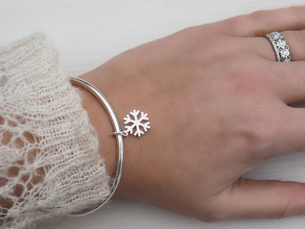 Silver Snowflake Bangle | Sterling Silver