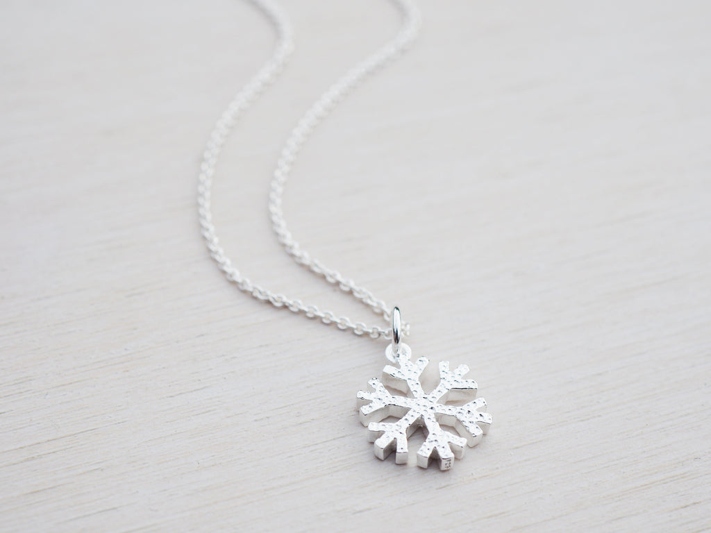 Silver Snowflake Necklace | Sterling Silver | Hammered