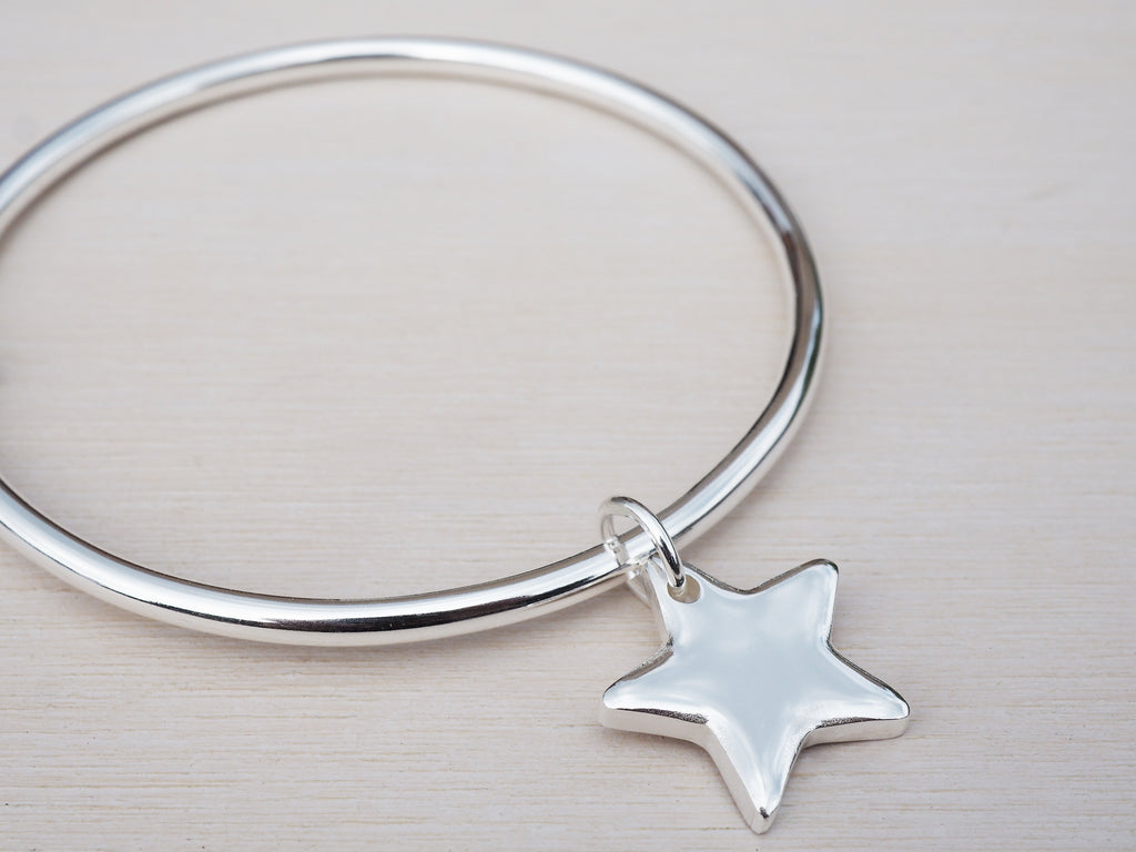 Solid Silver Bangle & Star | Sterling Silver