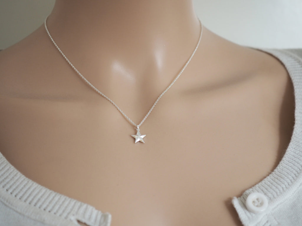 Tiny Silver Star Necklace | Geometric | Solid Sterling Silver
