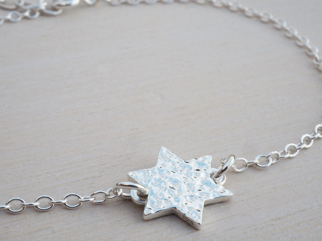 Silver Star Bracelet | Hammered Finish | Sterling Silver