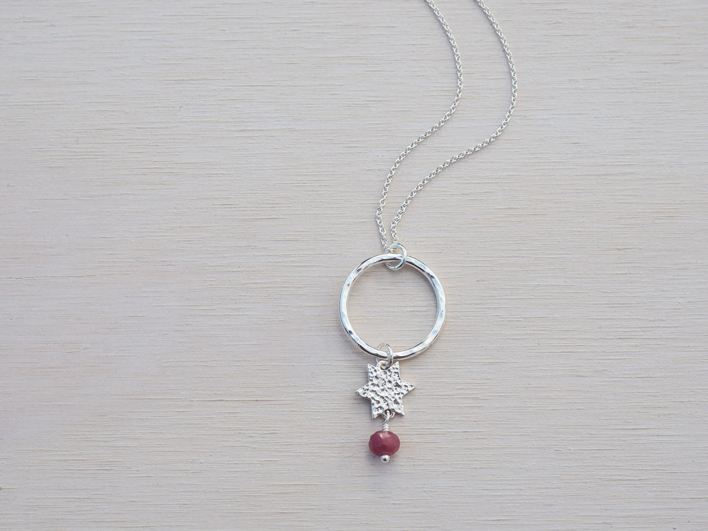 Silver Star Necklace | Circle | Ruby | Sterling Silver