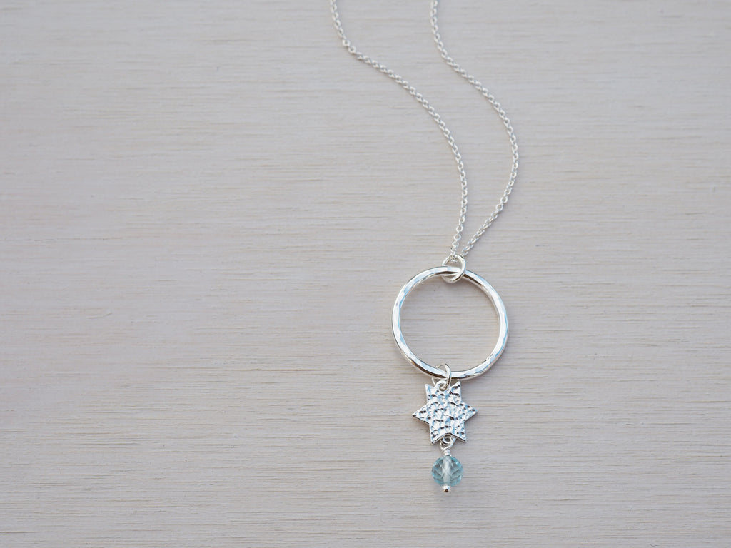 Silver Star Necklace | Circle | Sky Blue Topaz | Sterling Silver