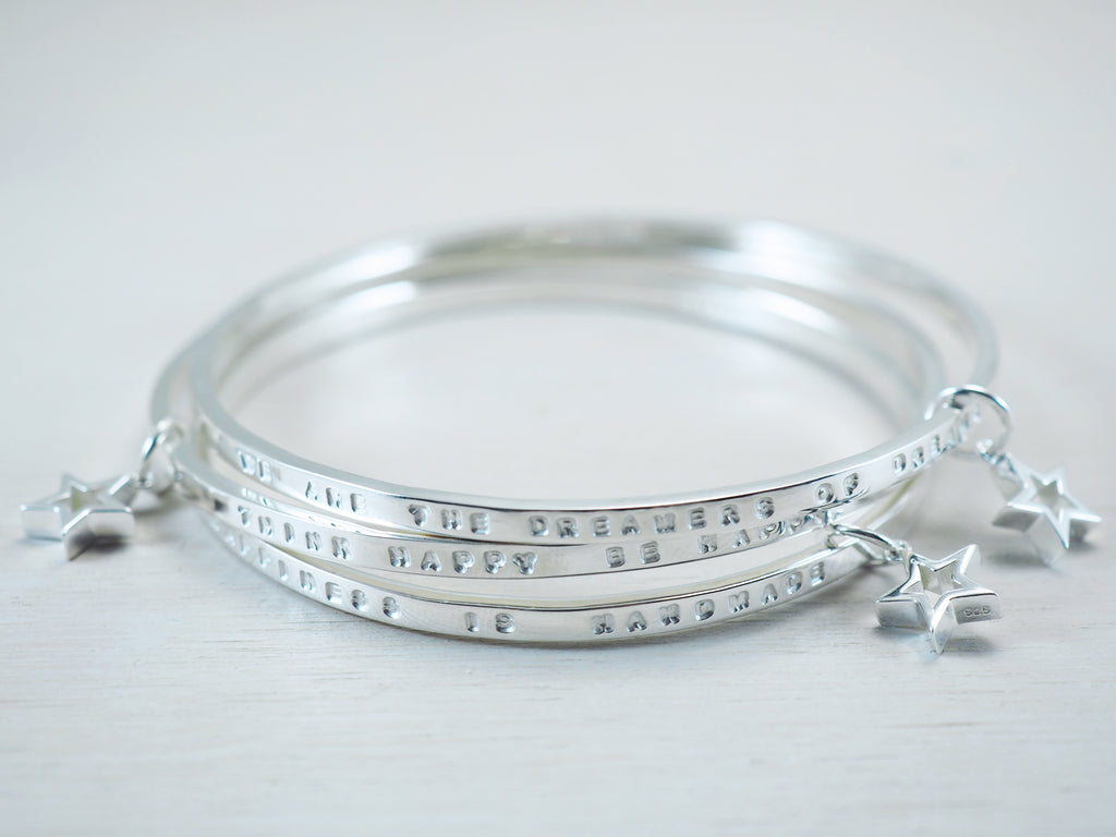 Personalised Star Bangle | Sterling Silver