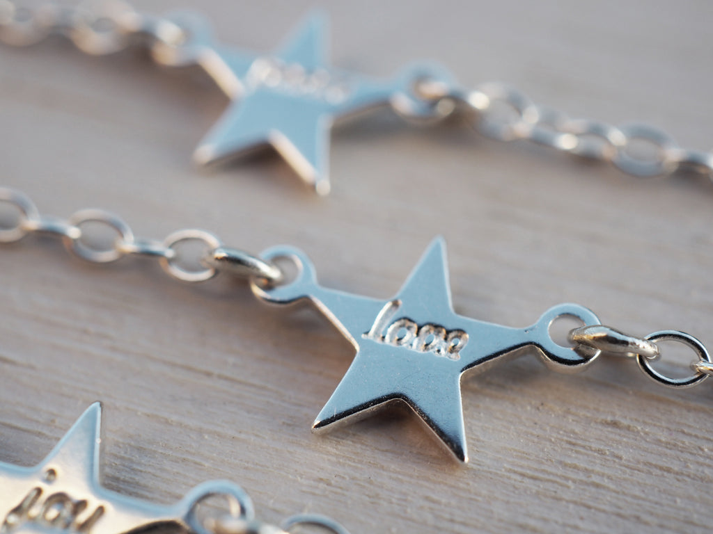 Tiny Silver Star Bracelet | Love | Dream | Joy | Peace | Sterling Silver