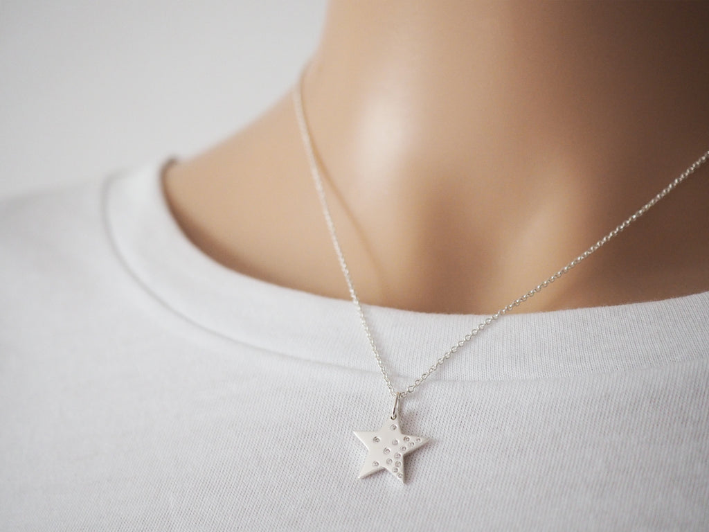 Sterling Silver Star Necklace | Cubic Zirconia