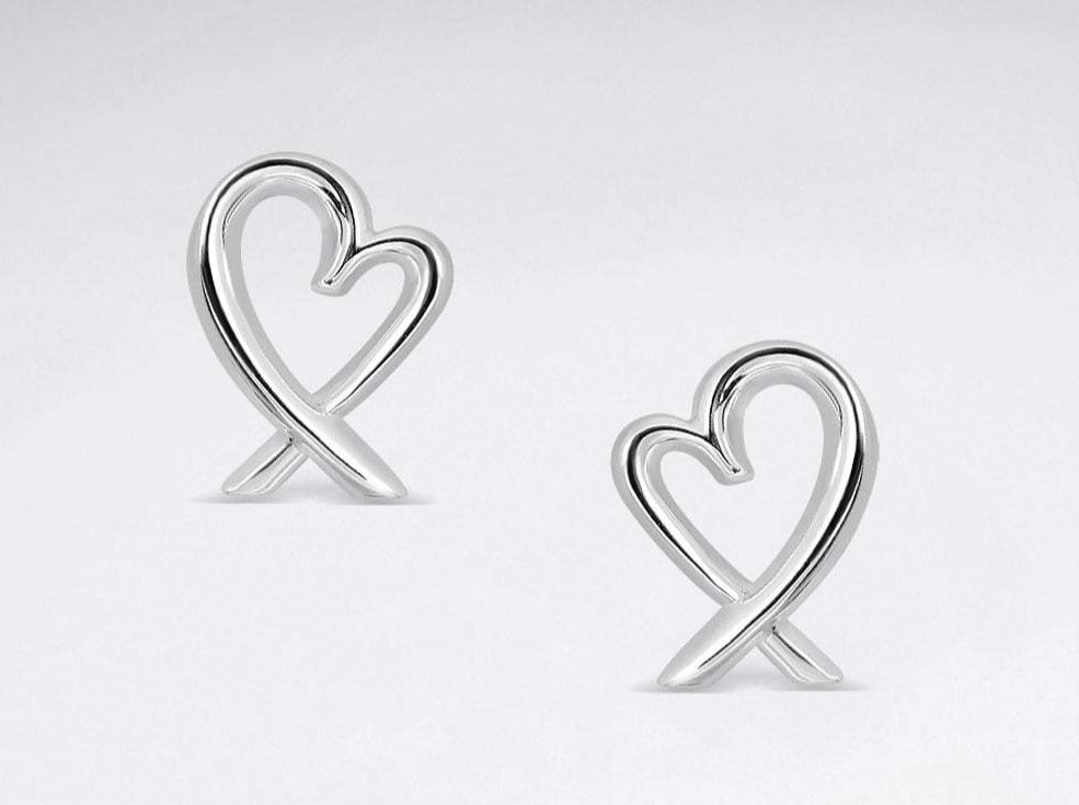 Sterling Silver Crossover Heart Studs