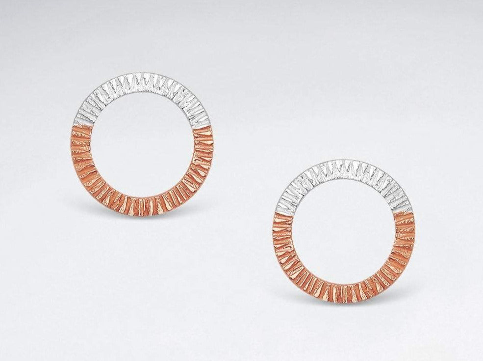 Textured Sterling Silver & Rose Gold Circle Studs