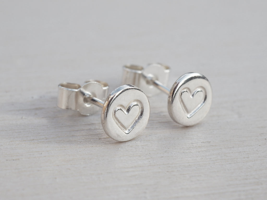 Tiny Silver Heart Circle Stud Earrings | Sterling Silver