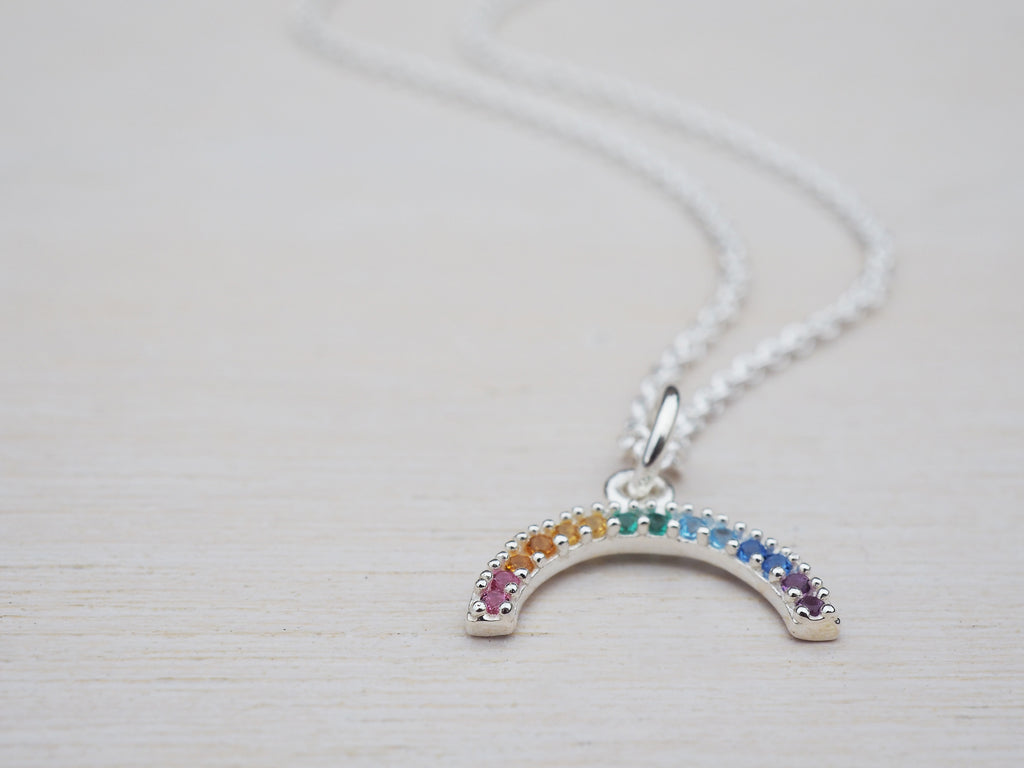 Tiny Rainbow Necklace | Sterling Silver | Cubic Zirconia