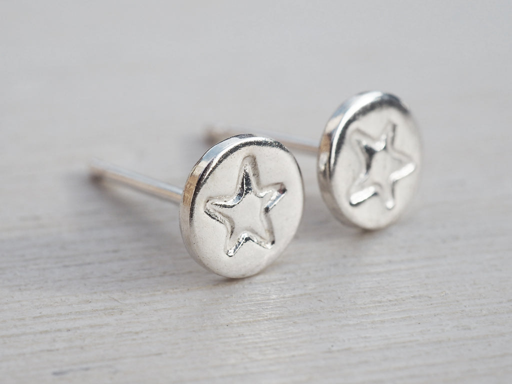 Tiny Silver Star Circle Stud Earrings | Sterling Silver