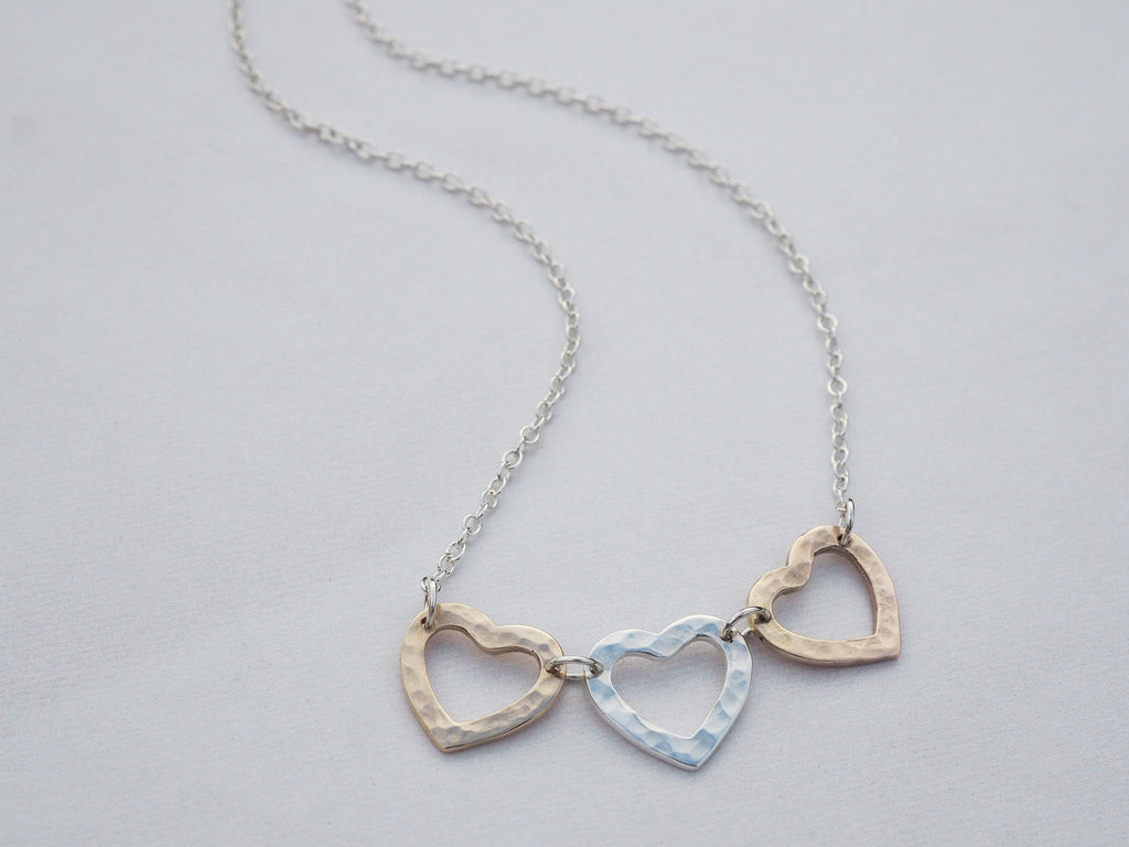 Triple Heart Necklace | Silver, Gold & Rose gold