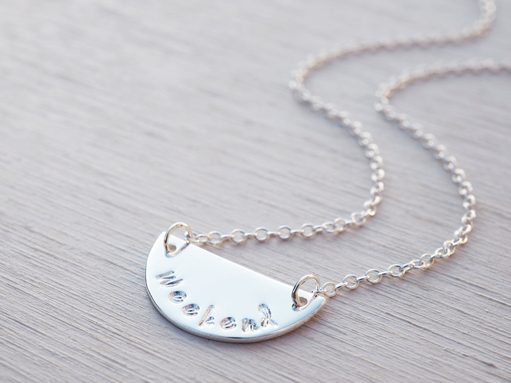 Silver Word Necklace | Weekend | Sterling Silver