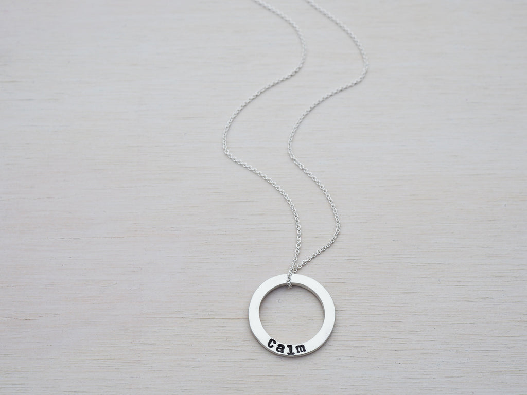 Personalised Silver Circle Necklace | Sterling Silver | Hand Stamped Names | Satin Finish | Small