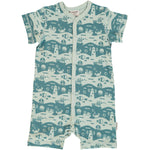 Maxomorra Ocean Landscape Rompersuit Button Shortsleeve