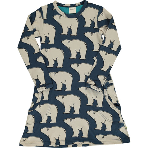 Maxomorra Polar Bear Dress Longsleeve