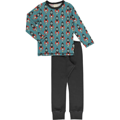 Maxomorra Moon Rocket  Pyjama Longsleeve Set