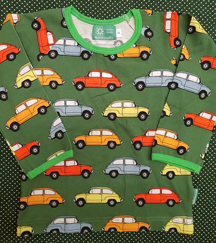 Napernutto Old Cars Olive Green Longsleeve top