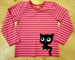 Lipfish Black Cat Applique on Pink Stripes Top Longsleeve