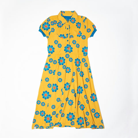 Alba Vintage Day Shortsleeve Dress Bright Gold Flower Power Mummy