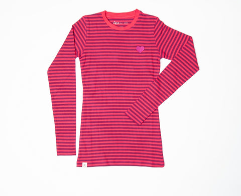 Alba The Everyday Longsleeve Top Raspberry Magic Stripe Mummy