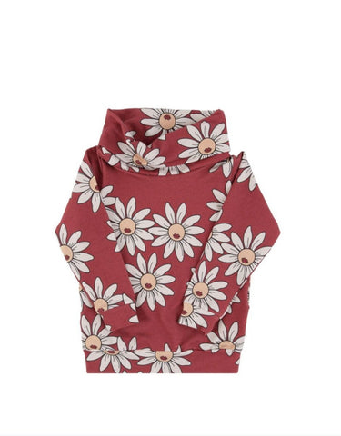 Dear Sophie Red Daisy Tube Sweatshirt Longsleeve