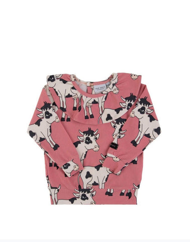 Dear Sophie Cow Pink Longsleeve Top Frilled