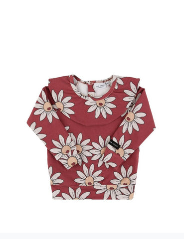 Dear Sophie Red Daisy Frilled Longsleeve Top