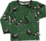 Smafolk Christmas Sledge Green Longsleeve Top